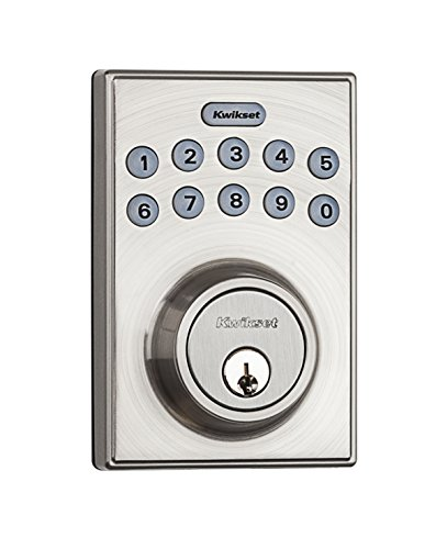 Kwikset 92640-001 Contemporary Electronic Keypad Single Cylinder Deadbolt with 1-Touch Motorized Locking, Satin Nickel,kwikset