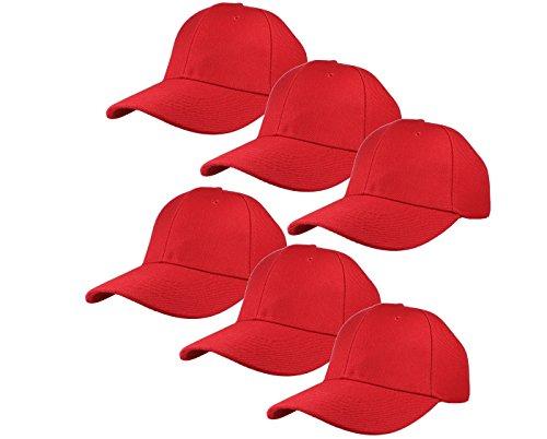 Gelante Plain Blank Baseball Caps Adjustable Back Strap Wholesale Lot 6 Pack-001-Red