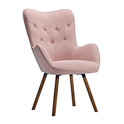 Roundhill Furniture Doarnin Contemporary Silky Velvet Tufted Button Back Accent Chair, Mauve - Frame constructions have been rigorously tested to simulate the home and transportation environments for improved durability. Solid wood frame legs come in a light brown finish. Corners are glued, blocked and stapled. High-quality plush high-density foam cushioning. Button tufted detail with silky velvet fabric. - living-room-furniture, living-room, accent-chairs - 41L9kz6VktL. SS400  -