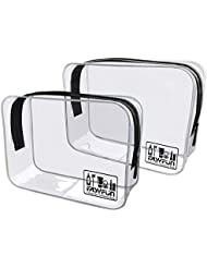 Easyfun 2pcs TSA Approved Travel Clear Toiletry Bag for Men and Women Travel Accessories Quart Size Toiletries Cosmetic Pouch Makeup Bags