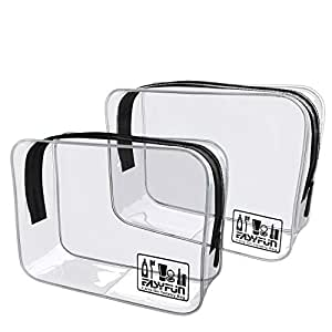2pcs TSA Approved Travel Clear Toiletry Bag for Men and Women Travel Accessories Quart Size Toiletries Cosmetic Makeup Bags