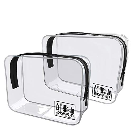 2bd37a867b91 2pcs TSA Approved Travel Clear Toiletry Bag for Men and Women Travel  Accessories Quart Size Toiletries Cosmetic Pouch Makeup Bags