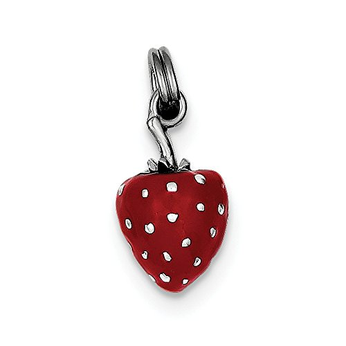 925 Sterling Silver Red Enamel Strawberry Charm (16mm x 10mm)