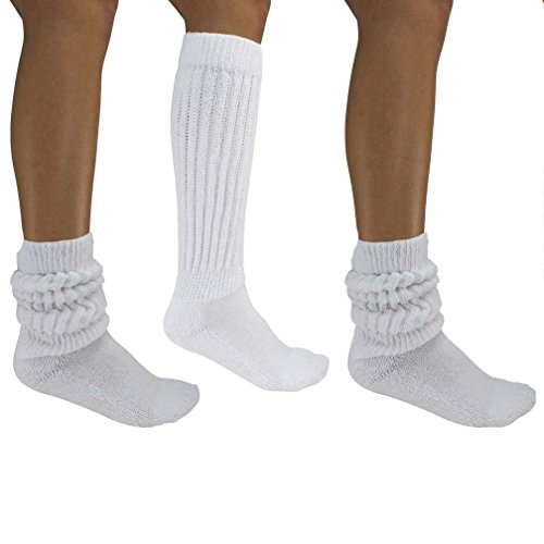 Luxury Divas White All Cotton 3 Pack Extra Heavy Super Slouch Socks