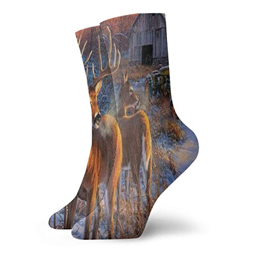 Crew Socks Winter Whitetail Deer Vintage Womens Sports Stocking Accessory Sock Clearance for Girls -