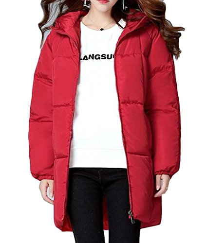 Hooded Againg Basic Sezioni Down Cotton Long Slim Winter Red Womens Fit BxnxHR