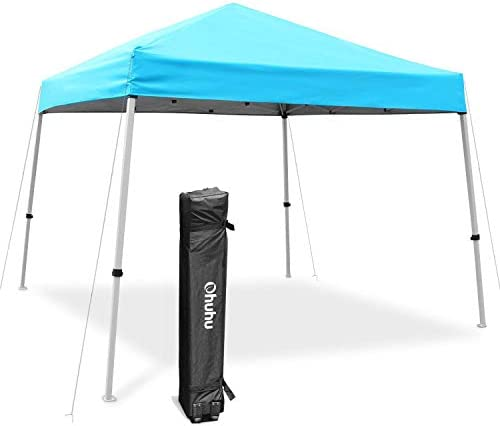 Ohuhu EZ Pop-Up Slant Leg Canopy Tent, 10 X 10 FT Instant Shelter with 3 Adjustable Heights, Easy-Carrying Lightweight Durable Instant Shelter with Wheeled Carry Bag, Blue