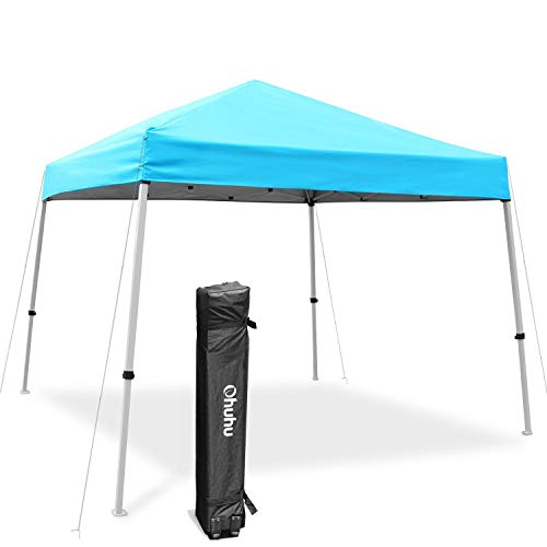Ohuhu EZ Pop-Up Slant Leg Canopy Tent, 10 X 10 FT Instant Shelter with 3 Adjustable Heights, Easy-Carrying Lightweight & Durable Instant Shelter with Wheeled Carry Bag, Blue (Durable Canopy)