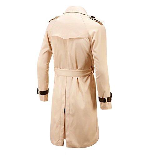 trinchera trinchera Slim Duffle Coat doble Peacoat larga botonadura Fit casual correa Khaki Hombre camisa f5wnqSS