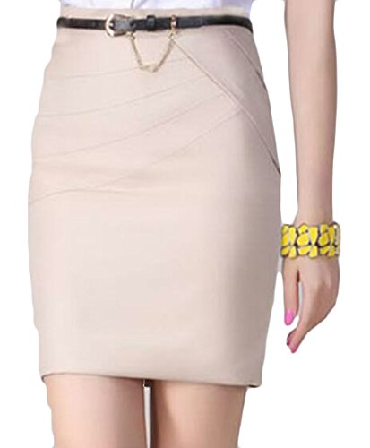Belted Bootie - GH Women's Booty Sheath Pencil Pure Color Vogue Zip-up Short Skirts Apricot L
