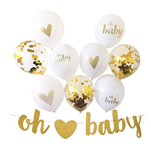 Oh Baby Heart Banner with 9 Balloons, Gold Glittery Letters Banner with Heart with 9 Foil Balloons for Baby Shower Party Pregnancy Announcement Birthday Decorations Little Boy or Girl