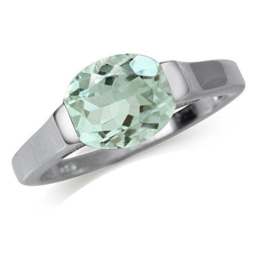 2.44ct. Natural Green Amethyst White Gold Plated 925 Sterling Silver Solitaire Ring Size 5