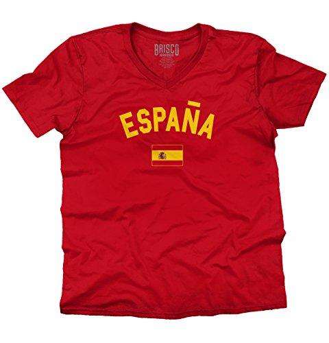 (Brisco Brands Espana Country Flag Soccer Fan Spain Pride V-Neck T Shirt Cherry Red)