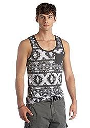 Red Camel® Mens Tank - Black/White/Gray Aztec Pattern (XL)