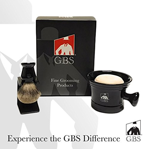 GBS Premium Men's Wet Grooming Shaving Set-Gift Boxed-Ceramic Black Shaving Soap Bowl/Mug with Knob Handle, Pure Badger Hair Brush + Stand and Natural Shave Soap, Compliments Your Razor, Great Gift!