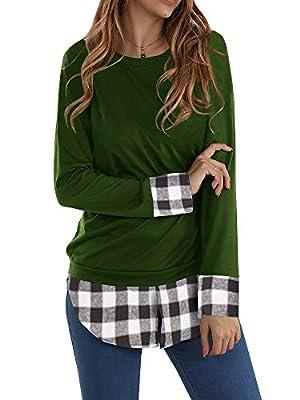Gemijack Womens Tunic Tops Buffalo Plaid Casual Long Sleeve Loose Checkered Shirt Sweatshirt