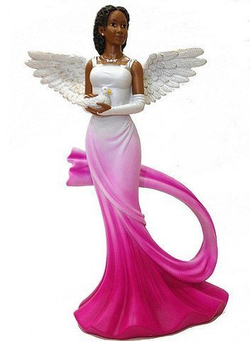 - Sash Angel in Fuchsia African American Angel Statue by Ebony Treasures 11.75 inches