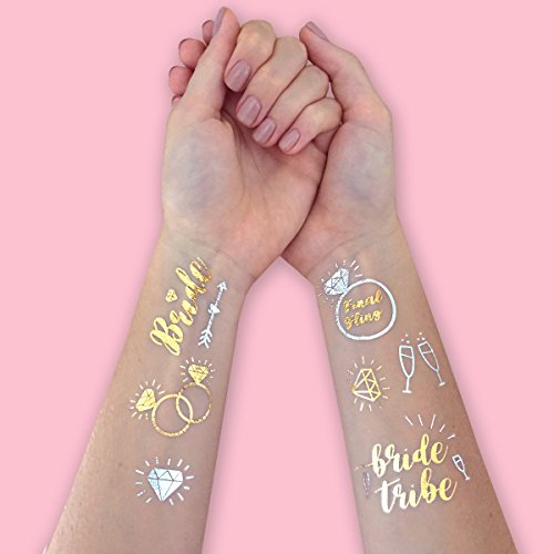 Bachelorette Party Flash Tattoos - Bride Tribe, Maid of Honor + 52 Styles /(2 sheets/) - Bridal Shower Favor and Decorations noplad