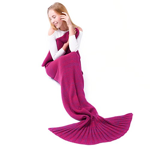 Mermaid Tail Blanket,Kyson Mermaid Crochet Blankets for Adults Kids, All Season Sleeping Bag Halloween Thanksgiving Christmas Gift (Adult, Rose ()