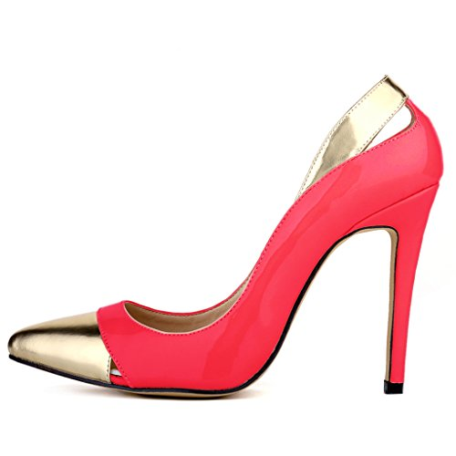 ZriEy Women Pumps Pointed Toe Stiletto Shoes 11cm Red