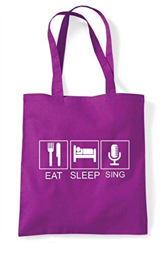 Funny Hobby Mic Old Eat Bag Style Shopper Sleep Retro Tote Tiles Sing Activity Magenta 08fS8T