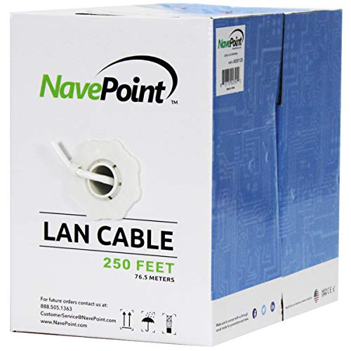 (NavePoint CAT5e (CCA), 250ft, White, Solid Bulk Ethernet Cable, 24AWG 4 Pair, Unshielded Twisted Pair (UTP))