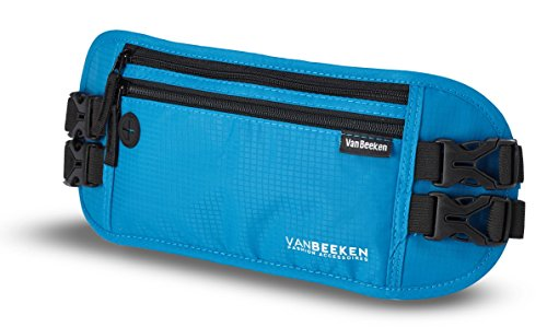 VAN BEEKEN RFID Travel Money Belt Hidden Money Belts for Travel for Men and Women I Travel Belt Money Pouch Slim Travel Fanny Pack I Waist Bags Waist Wallet Running Belt Wallet Waist Pouch Blue