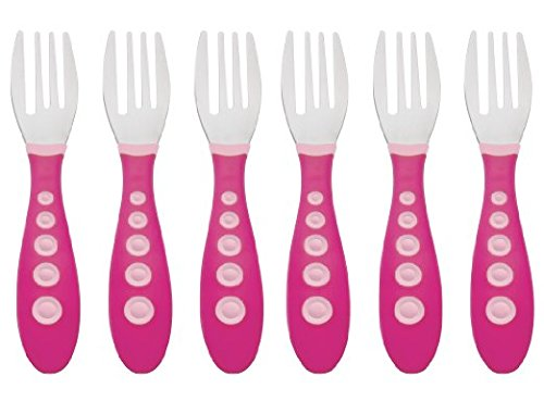Gerber Stainless Steel Tip Kiddy Cutlery Forks - 2 Pack, 6 total, Pink