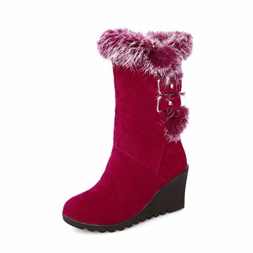 Invernali Medie Pattini 35 Cotone Gules Stivali Tallone Di Stivali donne Del Cuneo Rff Caldi vqg46x