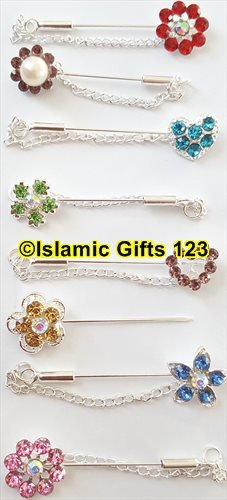 Islamic Gifts 123 Hijab Pins-Scarf Pins-Stone pins-Hair Covering Pins-Wholesale Lots (15) ()