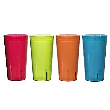 Café Break-Resistant Plastic 32oz Restaurant-Quality Beverage Tumblers | Set of 12 in 4 Assorted Colors