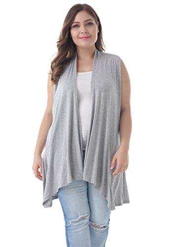 ZERDOCEAN Women's Plus Size Sleeveless Asymetric Hem Open Front Lightweight Soft Printed Drape Cardigan Light Gray 3X