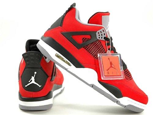 Nike Mens Air Jordan 4 Retro Toro Fire Red/Black Leather Basketball Shoes Size - 4 Red Jordan