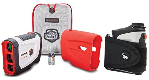 Bushnell Tour V4 Shift Patriot Pack with Cart Mount BUNDLE | Includes Magnetic Golf Rangefinder Cart Mount (Black), Carrying Case, Red Protective Skin and One (1) CR2 Battery | Slope Switch Feature