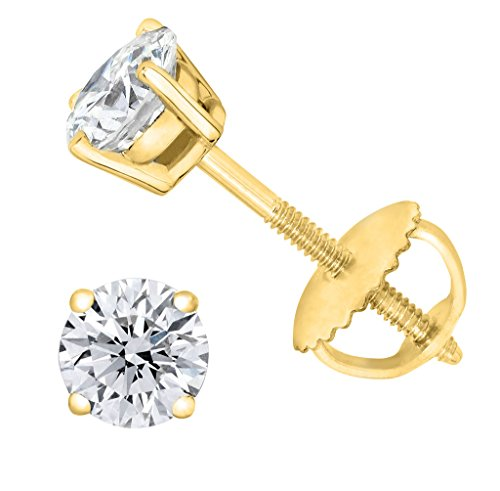 Diamond stud Screw Back 14K Yellow Gold (0.04 ctw, Color- HIJ, Clarity- I3-I4) ()