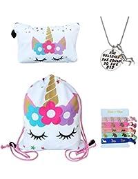 Unicorn Gifts for Girls - Unicorn Drawstring Backpack/Makeup Bag/Inspirational Necklace/Hair Ties (White Star Unicorn)