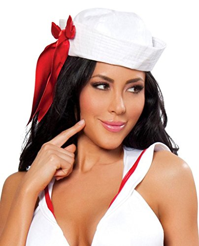 Roma Costume Sailor Hat with Red Ribbon - As Shown - One Size Fits Most -