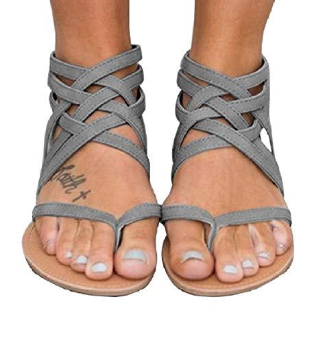 (Xiakolaka Womens Strappy Sandals Flat Gladiator Cross Strap Thong Toe Shoes Grey)