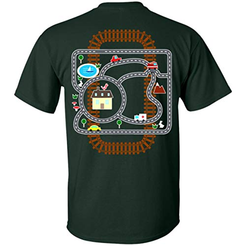 Car and Train_ Playmat Rug Print On Back T-Shirt - Funny Shirt for Father's Day, XL, Unisex T-Shirt/Forest ()