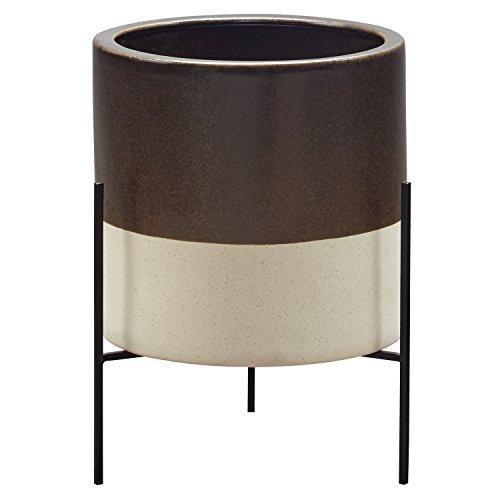 - Rivet Mid-Century Modern Ceramic Indoor Outdoor Planter Flower Pot with Iron Stand - 17 Inch, Dark Brown