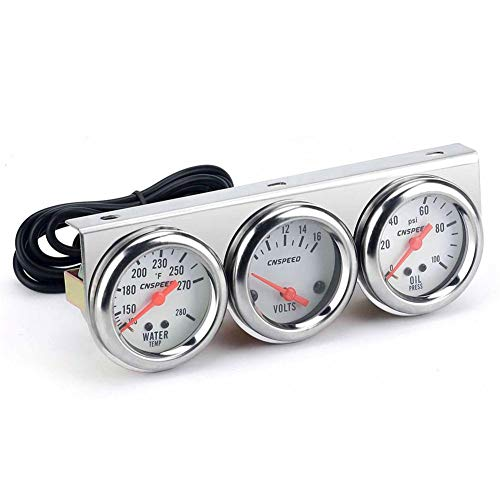 AITOCO Car Water Temperature Meter Gauge Set, Water Temp Meter/Oil pressure Meter/Volt Meter 3 in 1 LED Auto Meter Guage Fit for Most 12V Gasoline Car: