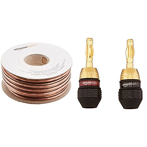 AmazonBasics 14-Gauge Speaker Wire - 50 Feet with AmazonBasics Banana Plugs - Deadbolt Type, 6 pairs