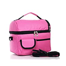 Doshop Thicken Insulated Cooler Bag Expandable Ice Pack School Work Lunch Box Kids Infant Baby Milk Bottle Fresh Bag Lunch Pouch Picnic Food Carry Bag Tote with Shoulder Strap (Rose Red)