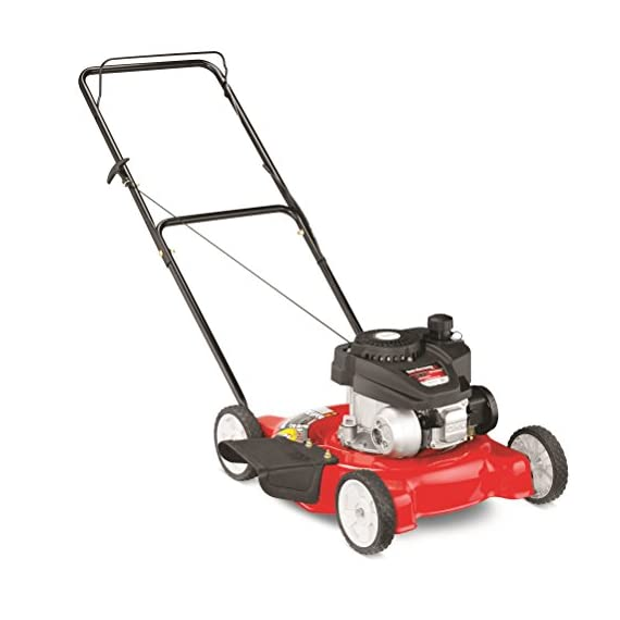 "Yard Machines 132cc 20-Inch Push Gas Lawn Mower - Mower for Small to Medium Sized Yards - Adjustable Cutting Heights… 2 Powered by a durable 140cc OHV engine to get the job done quickly Equipped with a 20"" side discharge cutting deck. Height Adjustment- 1.25 to 3.75 inches Features 3 cutting height positions that let you cut the grass down to the ideal size"