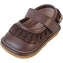 Squeaky Shoes Toddler Brown Leather Shoes with Ruffles