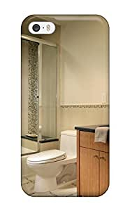 Flexible Tpu Back Case Cover For Iphone 5/5s - Neutral Bathroom With Mosaic Tile Accents On The Floor And Wall