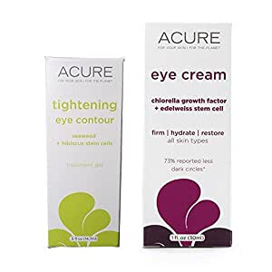 Acure Organics Tightening Eye Contour Treatment and Edelweiss Stem Cell Eye Cream Bundle For Puffiness, Dark Circles, Lines, Wrinkles and Aging, With Aloe Vera, Hibiscus and Witch Hazel, 1 and 0.5 oz