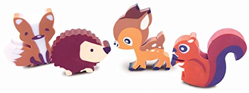 (The Piggy Story 'Fox & Woodland Animals' Set of 4 Die-Cut Mini Erasers in Gift Box)