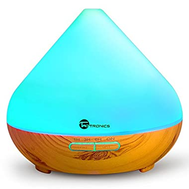 Essential Oil Diffuser, TaoTronics 300ml Wood Grain Aroma Diffuser with Cool Mist and 7 Colors ( Aromatherapy Diffuser + Ultrasonic Aroma Humidifier, Mist and Light Control, Timer + Auto Shut-off )