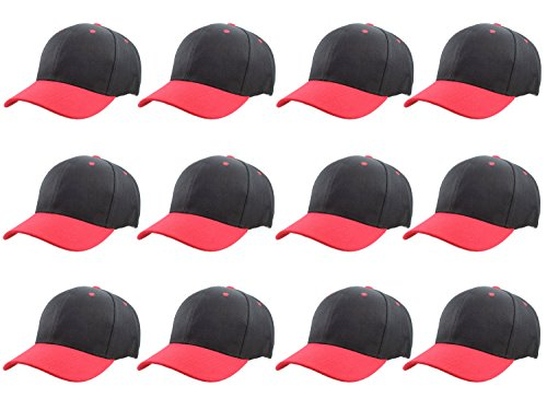 Gelante Plain Blank Baseball Caps Adjustable Back Strap Wholesale LOT 12 Pack 001-BlackRed-12PC